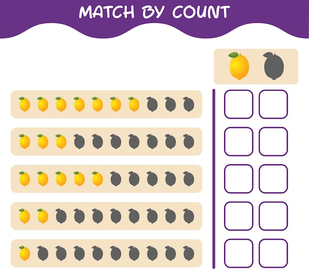 Match by count of cartoon lemon. match and count game. educational game for pre shool years kids and toddlers
