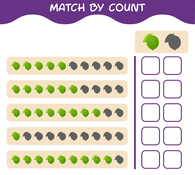 Match by count of cartoon lime. match and count game. educational game for pre shool years kids and toddlers