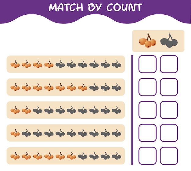 Match by count of cartoon loquat. match and count game. educational game for pre shool years kids and toddlers