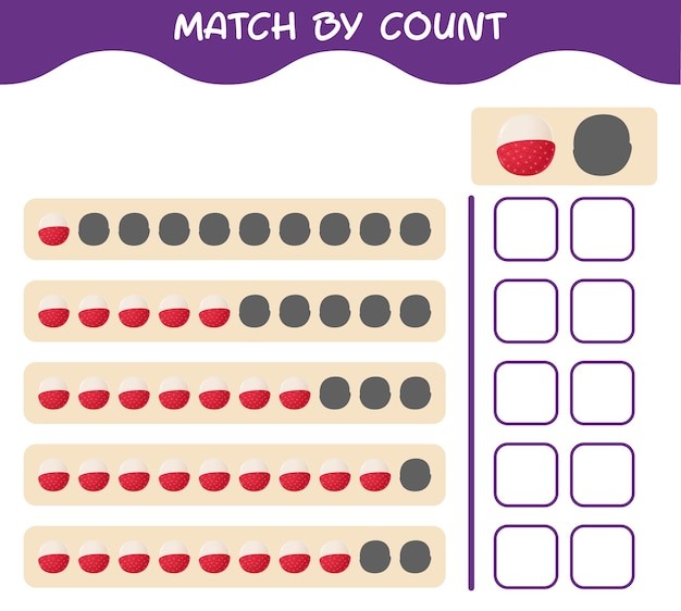 Match by count of cartoon lychee. match and count game. educational game for pre shool years kids and toddlers