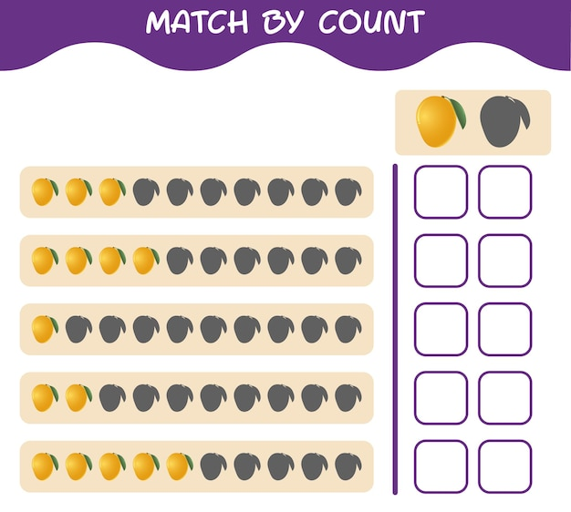 Match by count of cartoon mango. match and count game. educational game for pre shool years kids and toddlers