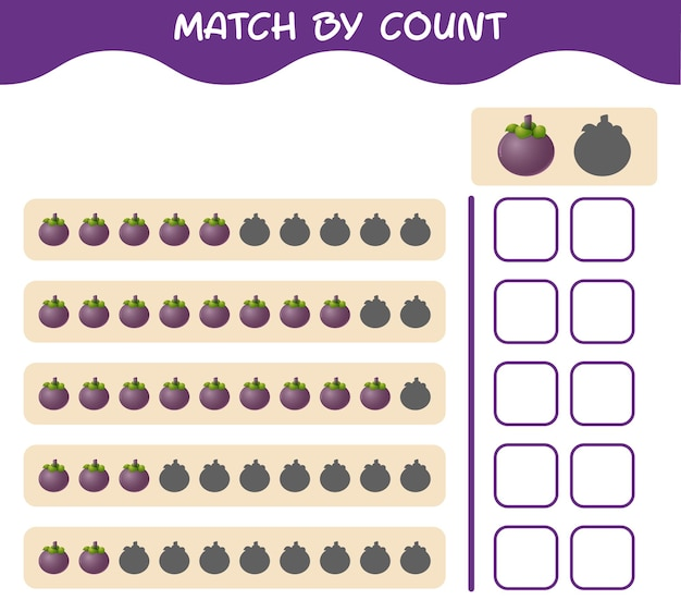 Match by count of cartoon mangosteen. match and count game. educational game for pre shool years kids and toddlers