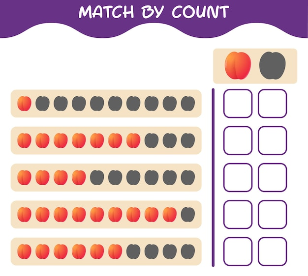Match by count of cartoon nectarine. match and count game. educational game for pre shool years kids and toddlers