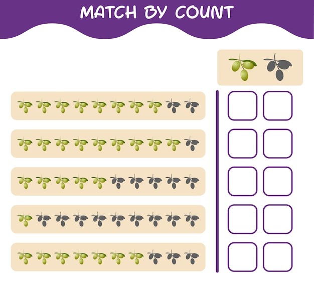 Match by count of cartoon olive. match and count game. educational game for pre shool years kids and toddlers