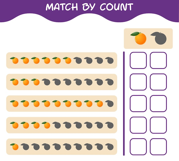 Match by count of cartoon orange. match and count game. educational game for pre shool years kids and toddlers