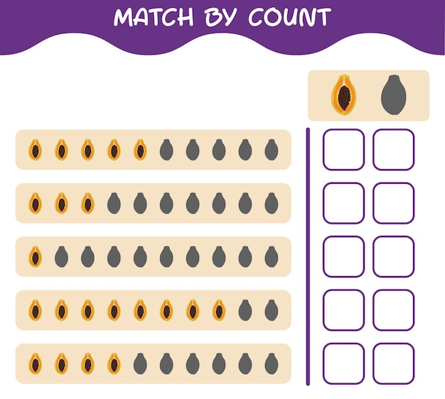 Match by count of cartoon papaya. match and count game. educational game for pre shool years kids and toddlers