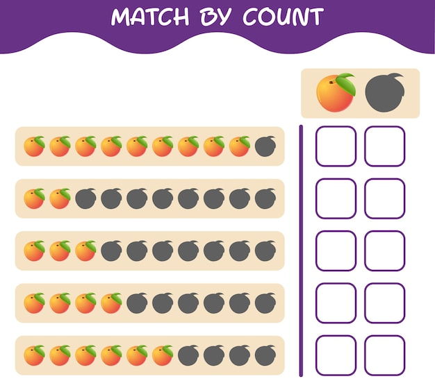 Match by count of cartoon peach. match and count game. educational game for pre shool years kids and toddlers