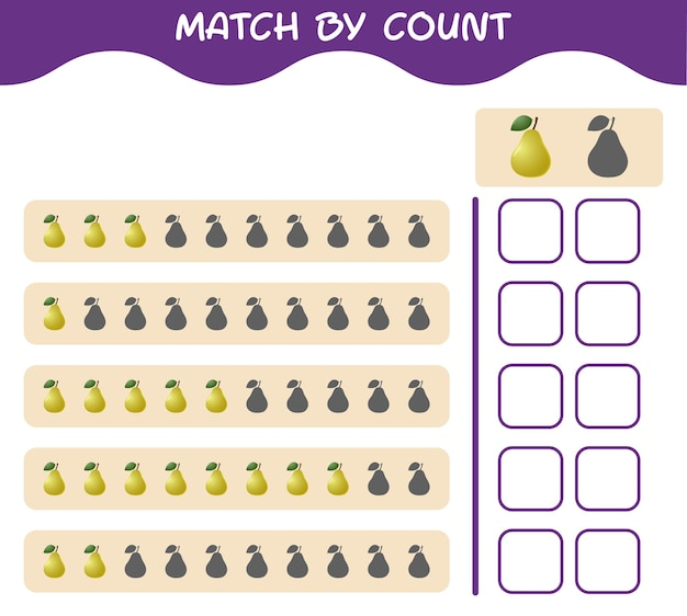 Match by count of cartoon pear. match and count game. educational game for pre shool years kids and toddlers
