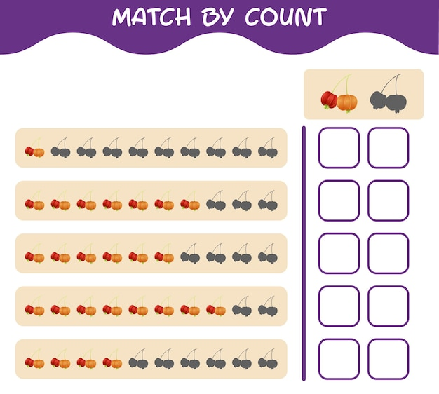 Match by count of cartoon pitanga. match and count game. educational game for pre shool years kids and toddlers