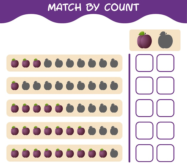 Match by count of cartoon plum. match and count game. educational game for pre shool years kids and toddlers
