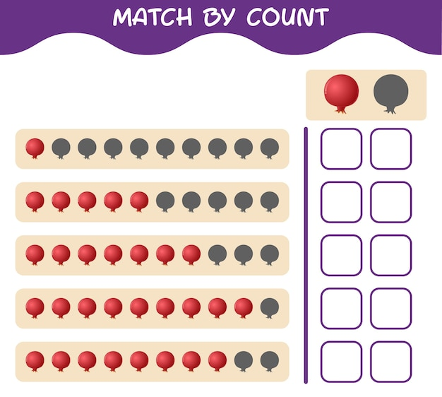 Match by count of cartoon pomegranate. match and count game. educational game for pre shool years kids and toddlers
