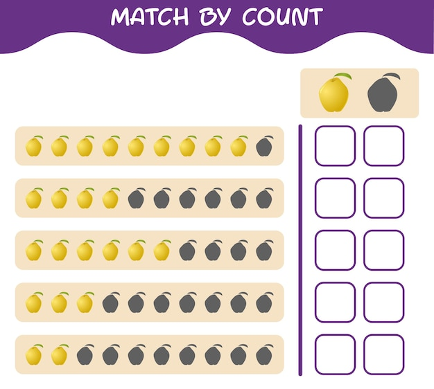 Match by count of cartoon quince. match and count game. educational game for pre shool years kids and toddlers