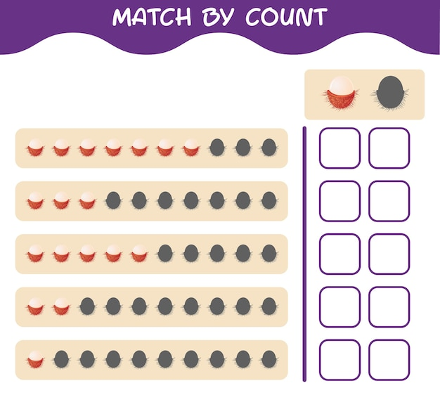 Match by count of cartoon rambutan. match and count game. educational game for pre shool years kids and toddlers