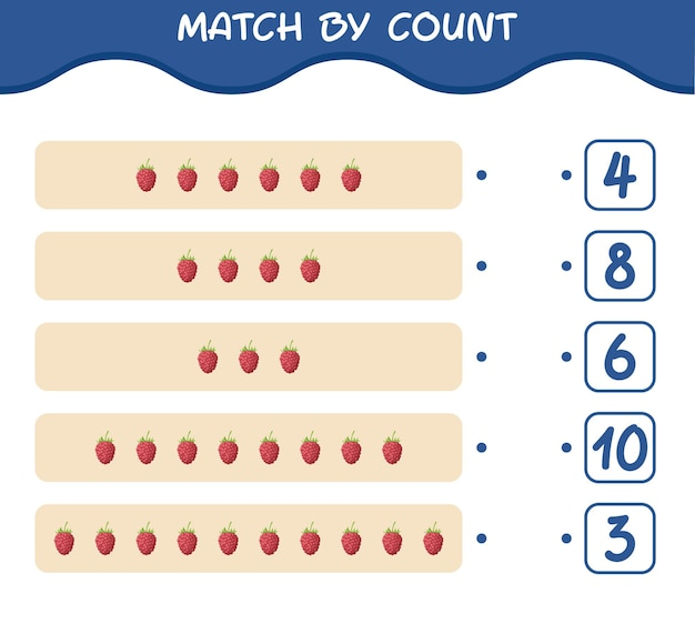Match by count of cartoon raspberry. match and count game. educational game for pre shool years kids and toddlers