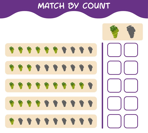 Match by count of cartoon white grape. match and count game. educational game for pre shool years kids and toddlers