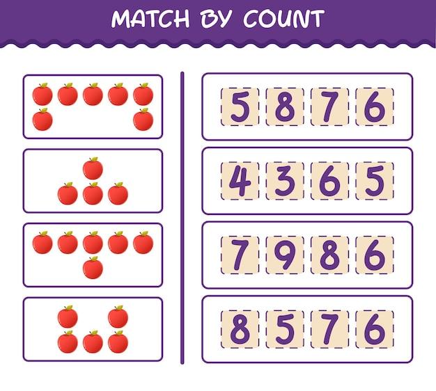 Матч по количеству мультяшных яблок. матч и подсчет игры. развивающая игра для дошкольников и малышей