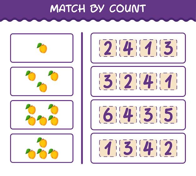 Матч по количеству мультяшных абрикосов. матч и подсчет игры. развивающая игра для дошкольников и малышей