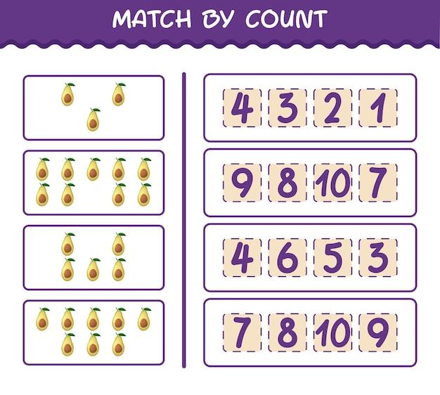 Матч по количеству мультяшных авокадо. матч и подсчет игры. развивающая игра для дошкольников и малышей