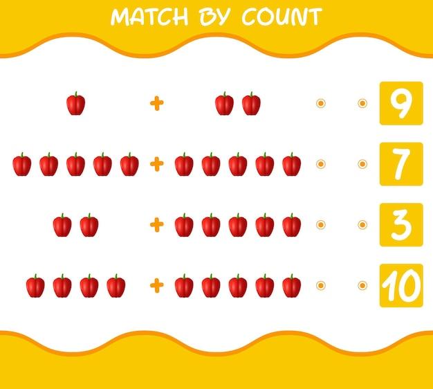 Матч по количеству мультяшного болгарского перца. матч и подсчет игры. развивающая игра для дошкольников и малышей