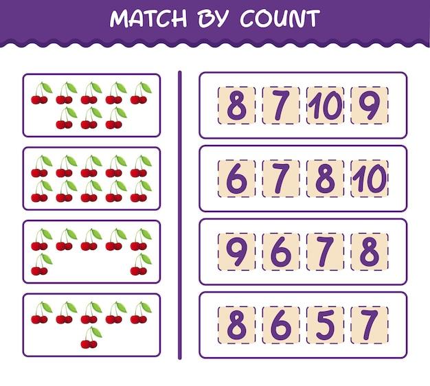 Матч по количеству мультяшных вишен. матч и подсчет игры. развивающая игра для дошкольников и малышей
