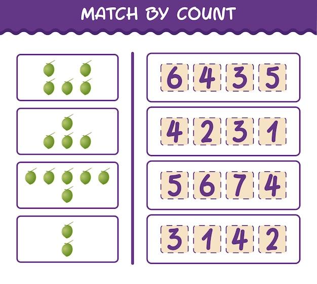 Матч по количеству мультяшных кокосов. матч и подсчет игры. развивающая игра для дошкольников и малышей