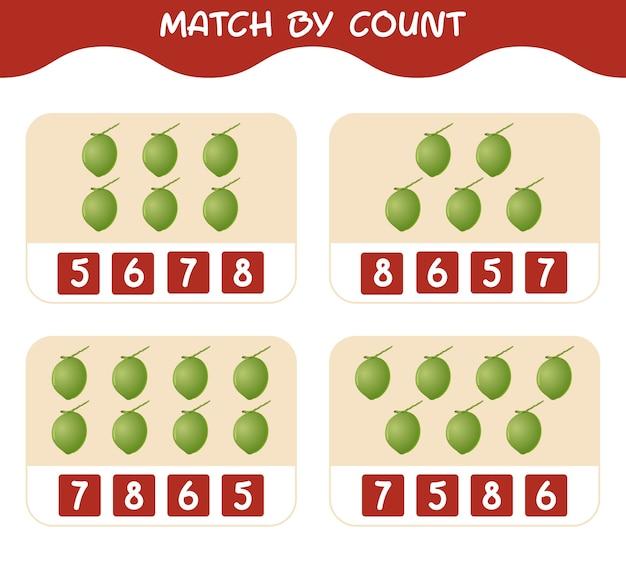漫画のココナッツの数で一致する一致して数えるゲーム就学前の子供と幼児のための教育ゲーム
