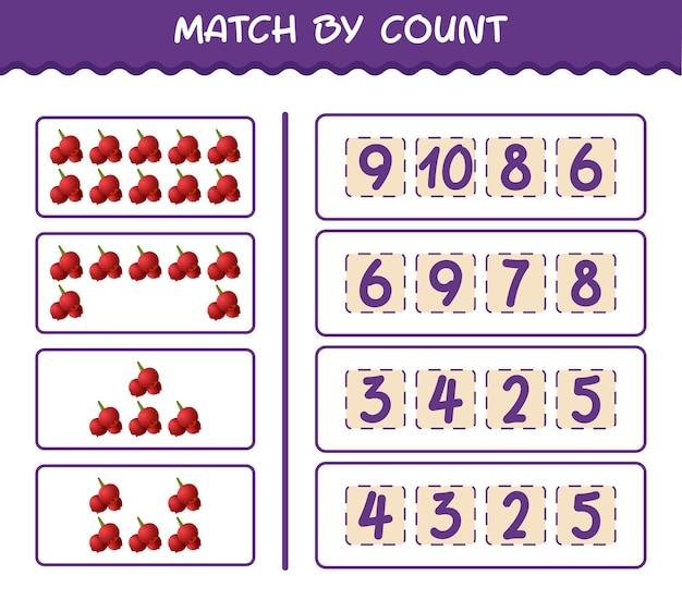 Матч по количеству мультяшных клюкв. матч и подсчет игры. развивающая игра для дошкольников и малышей