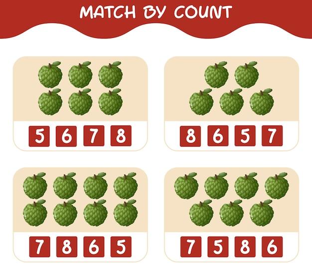 漫画のカスタードリンゴの数で一致します。マッチアンドカウントゲーム。就学前の子供と幼児のための教育ゲーム