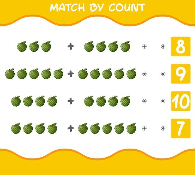 Матч по количеству мультяшных заварных яблок. матч и подсчет игры. развивающая игра для дошкольников и малышей