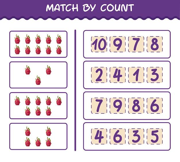 Матч по количеству мультяшных драконьих фруктов. матч и подсчет игры. развивающая игра для дошкольников и малышей