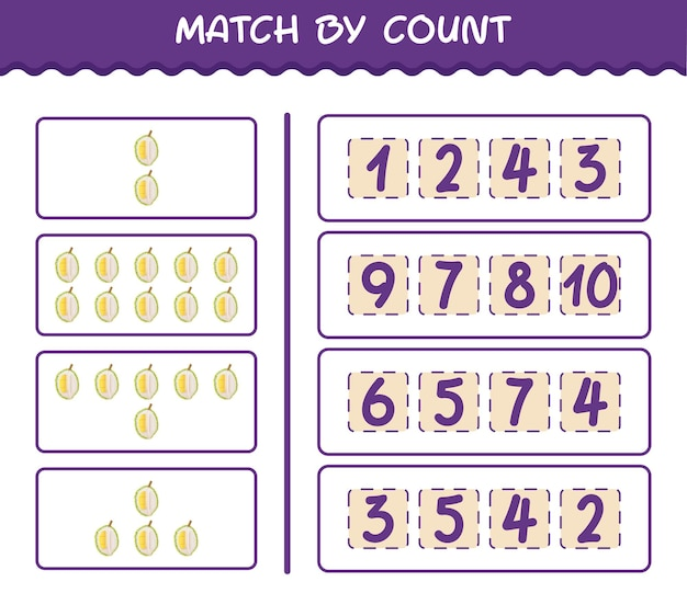 Матч по количеству мультяшных дурианов. матч и подсчет игры. развивающая игра для дошкольников и малышей