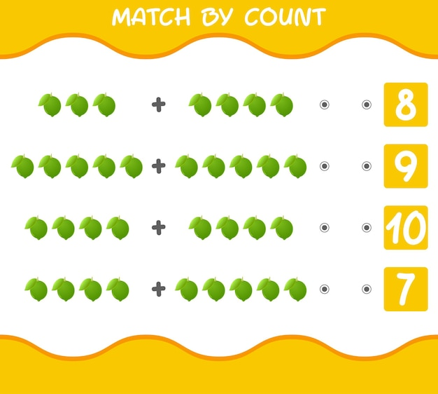 漫画の果物の数で一致します。マッチアンドカウントゲーム。