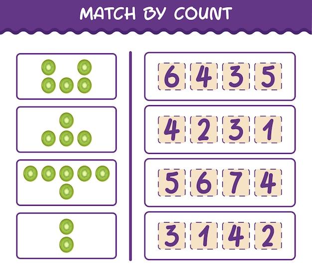 Матч по количеству мультяшных киви. матч и подсчет игры. развивающая игра для дошкольников и малышей