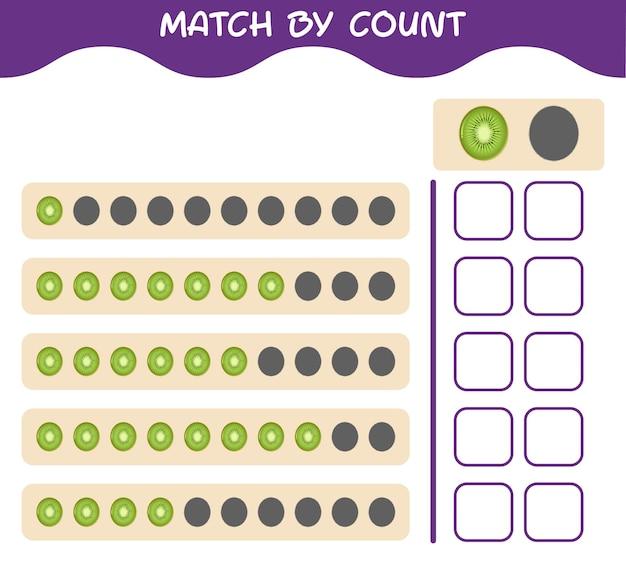 漫画のキウイの数で一致します。ゲームをマッチさせて数えます。就学前の子供と幼児のための教育ゲーム