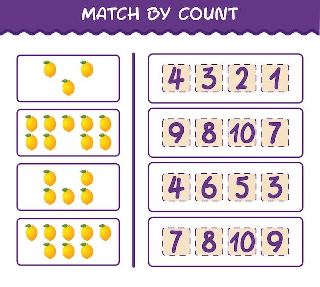 Матч по количеству мультяшных лимонов. матч и подсчет игры. развивающая игра для дошкольников и малышей