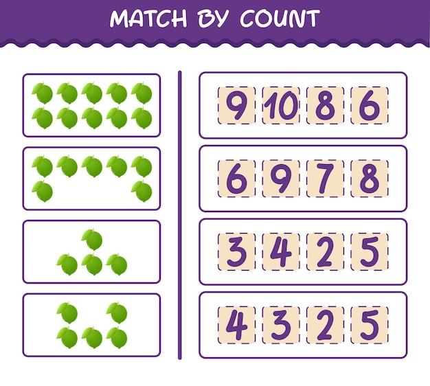 Матч по количеству мультяшных лаймов. матч и подсчет игры. развивающая игра для дошкольников и малышей