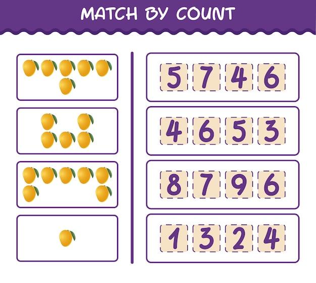 Матч по количеству мультяшного манго. матч и подсчет игры. развивающая игра для дошкольников и малышей