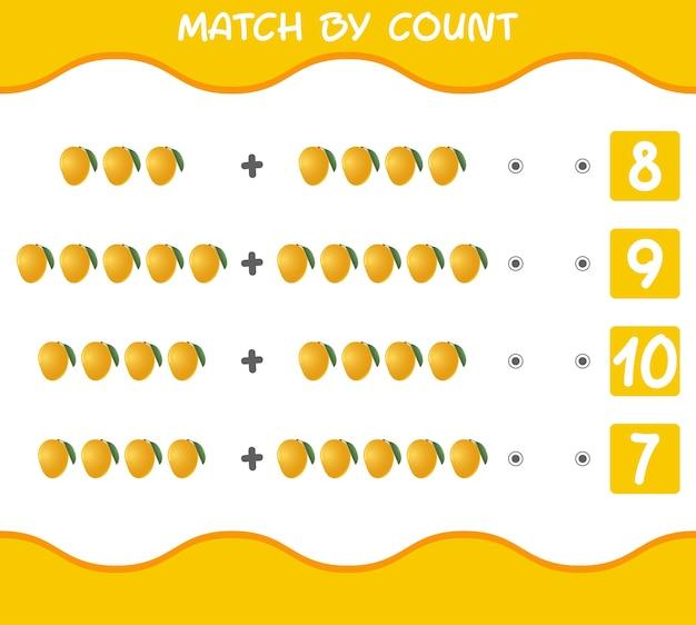 漫画のマンゴーの数による一致教育ゲーム