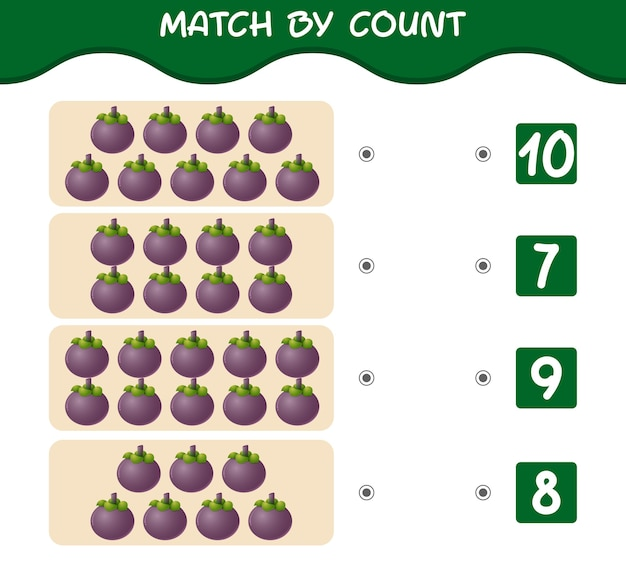 漫画のマンゴスチンの数で一致する一致して数えるゲーム就学前の子供と幼児のための教育ゲーム