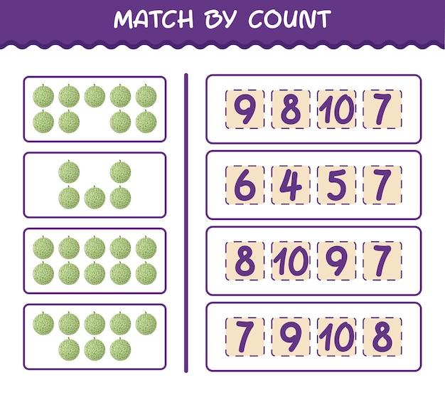 Матч по количеству мультяшных дынь. матч и подсчет игры. развивающая игра для дошкольников и малышей
