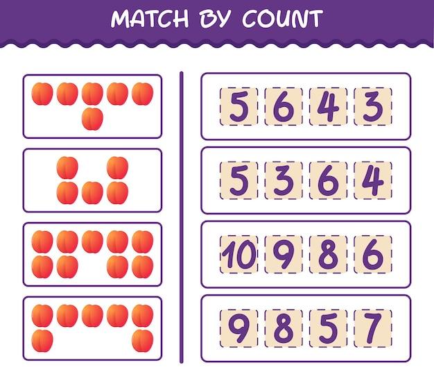 Матч по количеству мультяшного нектарина. матч и подсчет игры. развивающая игра для дошкольников и малышей