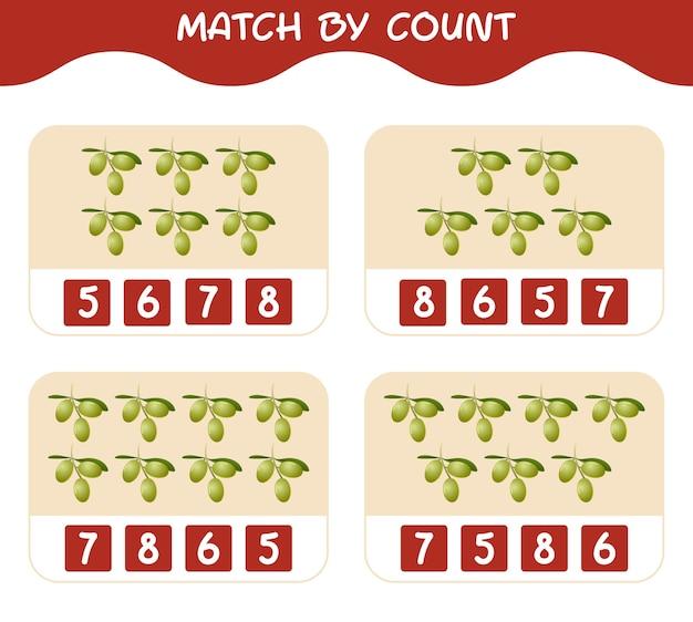 漫画のオリーブの数で一致します。マッチアンドカウントゲーム。就学前の子供と幼児のための教育ゲーム