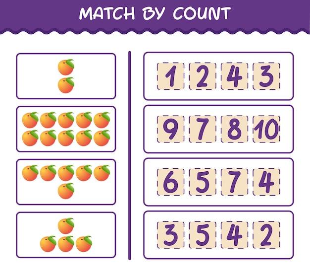 Матч по количеству мультяшных персиков. матч и подсчет игры. развивающая игра для дошкольников и малышей