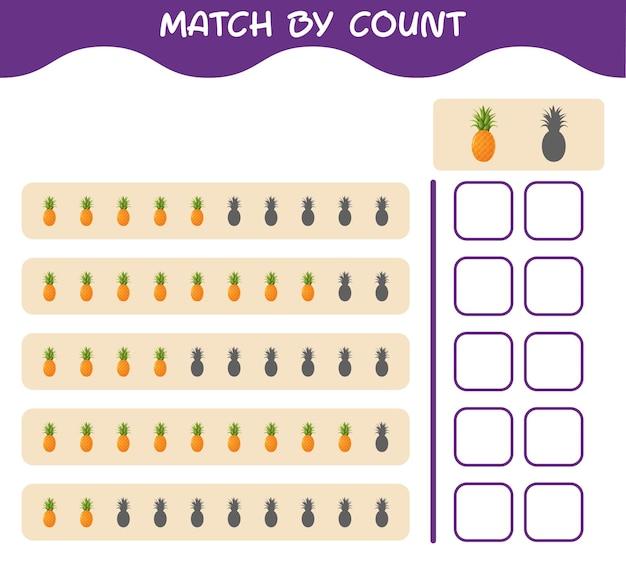 漫画のパイナップルの数で一致します。ゲームをマッチさせて数えます。就学前の子供と幼児のための教育ゲーム