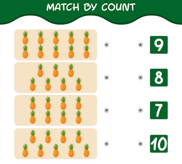 漫画のパイナップルの数で一致します。マッチアンドカウントゲーム。
