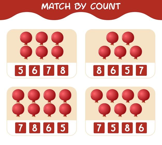 漫画のザクロの数で一致します。マッチアンドカウントゲーム。就学前の子供と幼児のための教育ゲーム