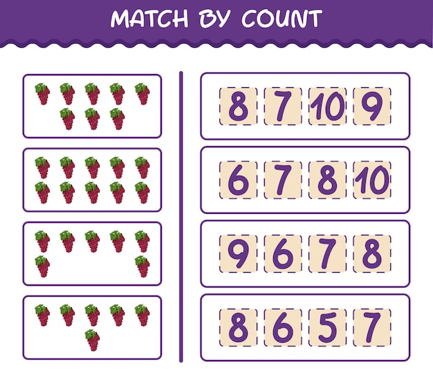 Матч по количеству мультяшного красного винограда. матч и подсчет игры. развивающая игра для дошкольников и малышей