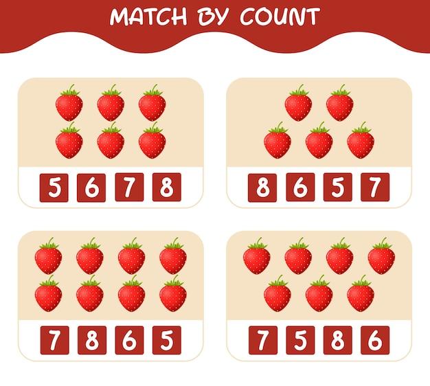 漫画のイチゴの数で一致します。マッチアンドカウントゲーム。就学前の子供と幼児のための教育ゲーム