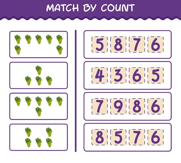 Матч по количеству мультяшного белого винограда. матч и подсчет игры. развивающая игра для дошкольников и малышей