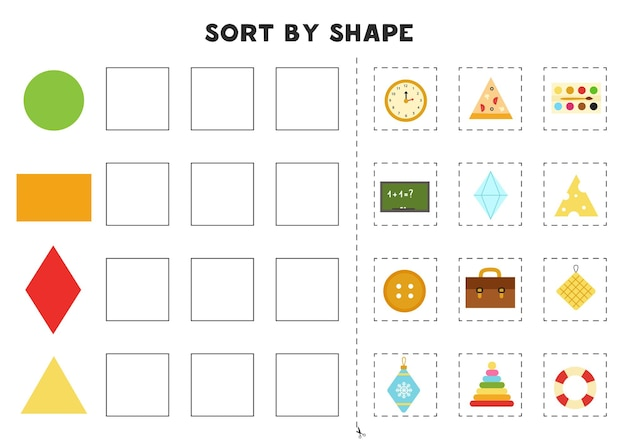 Match by shapes. learning basic geometric shapes. printable worksheet for preschool.